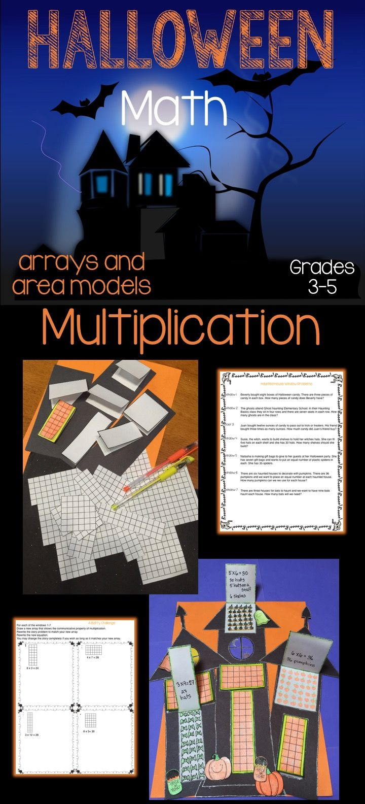 Create haunted houses for a Halloween themed multiplication project. For each story problem your students will build an area model window, write the equation and draw an array model inside the flap.