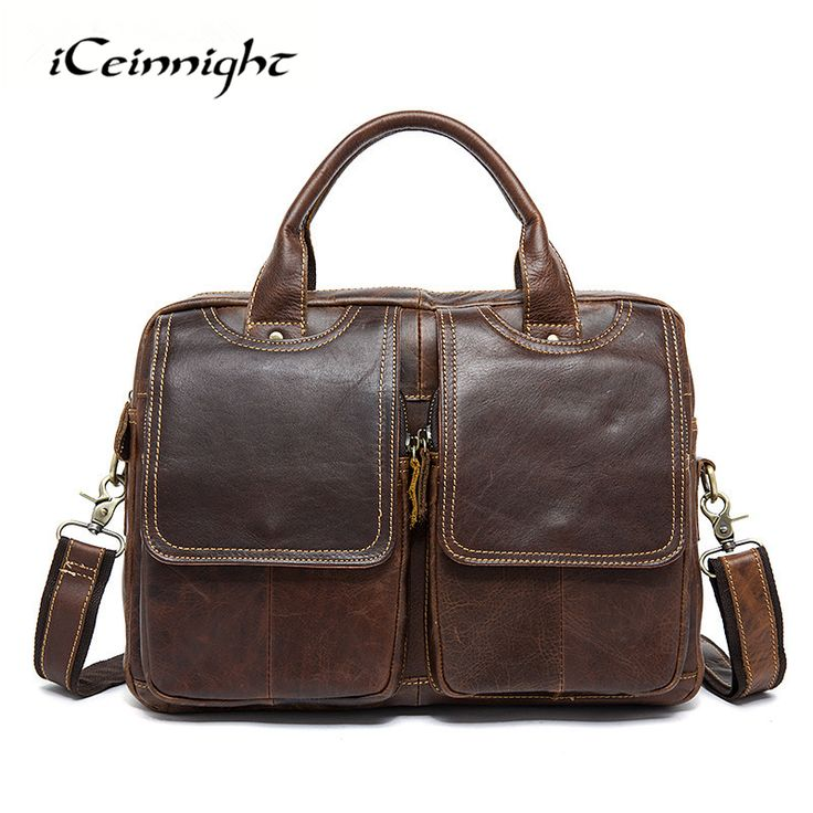 ==> [Free Shipping] Buy Best iCeinnight Vintage Genuine Leather Men's Bag Luxury Crazy Horse Leather Handbags Shoulder Bags Casual Man Briefcase Laptop Bags Online with LOWEST Price | 32738431888