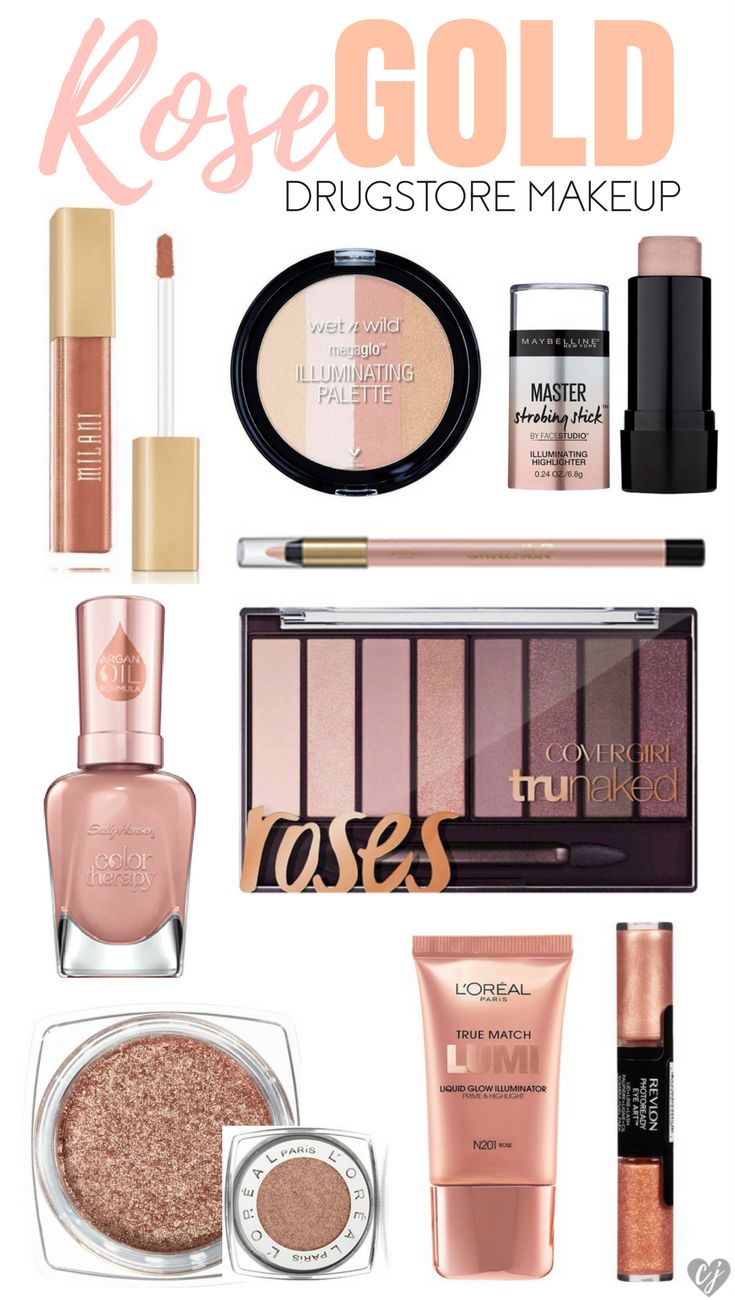 Affordable brands have come out so many fun rose gold drugstore makeup products! Add this trendy color to your illuminaters, highlighters, eyeshadow, nail polish, and lip colors.