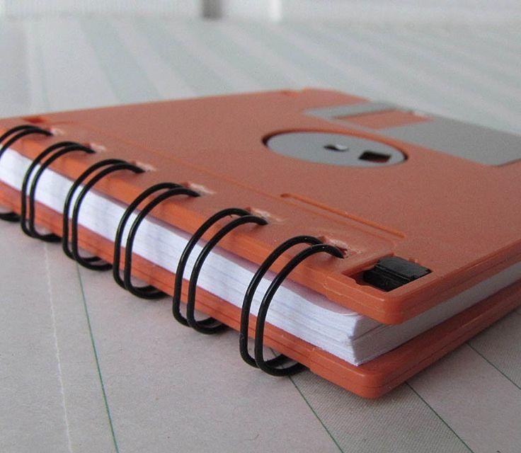 Orange Recycled Geek Gear Blank Floppy Disk Mini Notebook by Fishstikks on Etsy https://www.etsy.com/listing/62395027/orange-recycled-geek-gear-blank-floppy