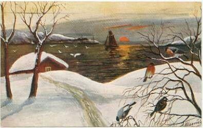 Julekort sig MAGNUS - Fjordlandskap med båter og fugler Utg B & H. Serie 154
