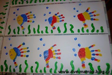 Otisky rukou na plátno - Podvodní svět | Dvě mamky