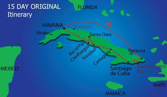 15 day Original Cuba tour map