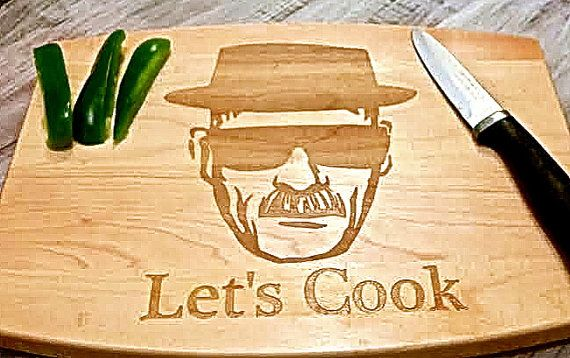 Engraved Let's Cook cutting board, Heisenberg, Walter white, Heisenberg cutting board, Breaking Bad inspired.
