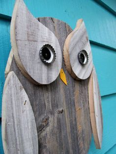 Owl wall hanging made of recycled wood by JohnBirdsong on Etsy, $32.00