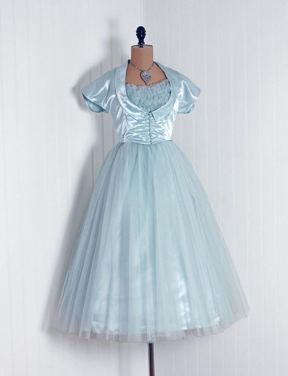 Robe de mariée - Bleu clair en tulle courte