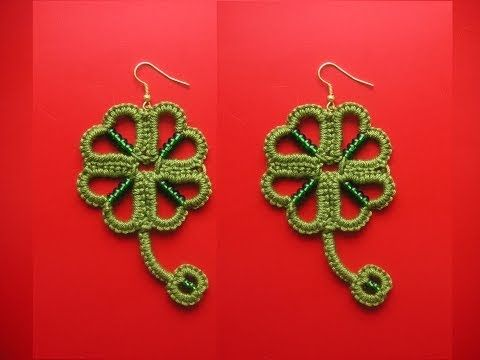 ▶ ‪26' TUTORIAL SEMPLICE ORECCHINI QUADRIFOGLIO CHIACCHIERINO AD AGO EASY EARRINGS NEEDLE TATTING‬‏ - YouTube