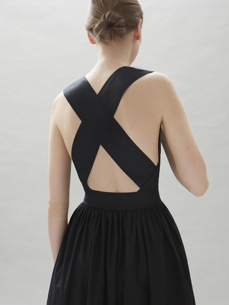 Contemporary Fashion - black dress with crossover back detail // COS