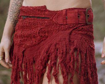 Emrat rok (robijn rood) - Sexy Fairy Hippie Boho Goa Festival Pixie Gypsy Boheemse rok met Pocket uniek Design gehaakte rok met ceintuur