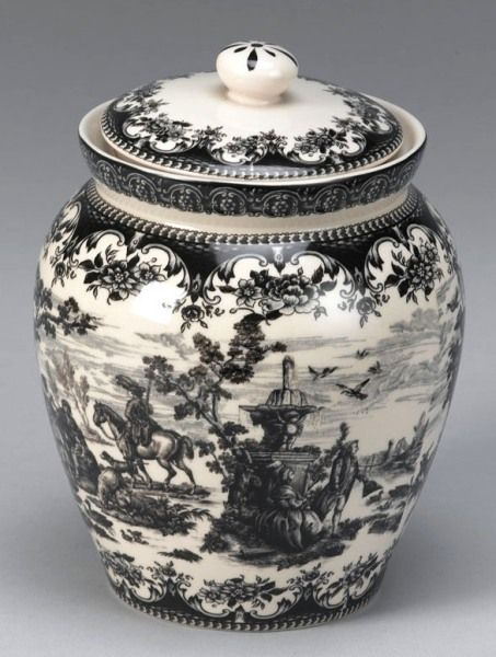 Black Victorian Toile Porcelain Biscuit Jar. Something like this never goes out of style.