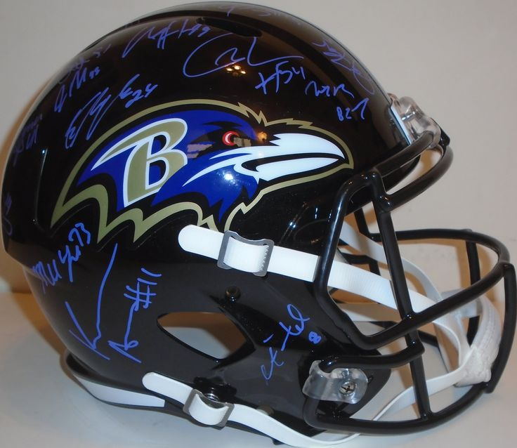 2015 Baltimore Ravens team signed Riddell full size speed football helmet w/ proof photos & 35 sigs total! Proof photos of the Ravens signing will be included with your purchase along with a COA issued from Southwestconnection-Memorabilia, guaranteeing the item to pass authentication services from PSA/DNA or JSA. Free USPS shipping. www.Autographedwi... is your one stop for autographed collectibles from Baltimore sports teams. Check back with us often, as we are always obtaining new items.