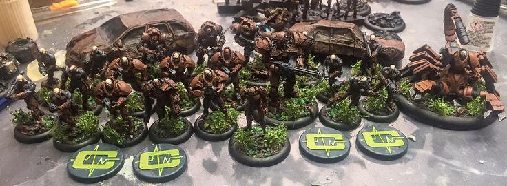 Ejército de 1000 puntos de Cybertronic listo para el combate.
