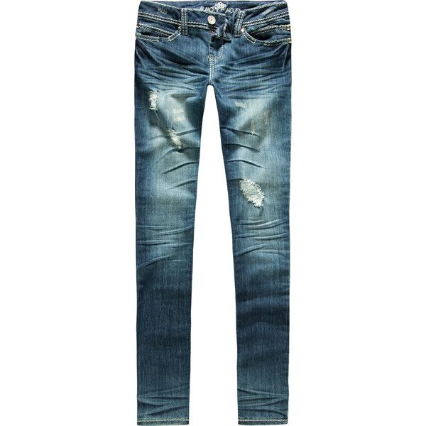 ALMOST FAMOUS Destructive Womens Skinny Jeans ($35) ❤ liked on Polyvore
