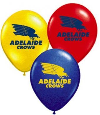 Adelaide Crows party balloons in red yellow and blue. perfect for AFL footy party decorations.
