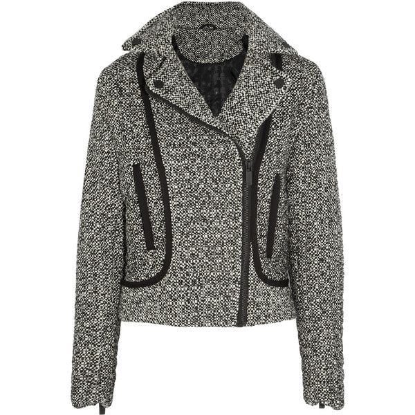 Karl Lagerfeld Burel sateen-trimmed tweed jacket (420 BRL) ❤ liked on Polyvore featuring outerwear, jackets, coats & jackets, anthracite, slim jacket, zipper jacket, structure jacket, asymmetrical zipper jacket and elbow patch jacket