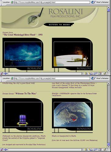 Website design for Rosalini Film Productions.
