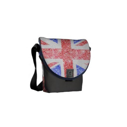Union Jack flag fashion glitter photo print Courier Bag