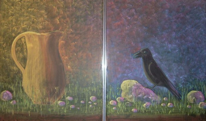 Waldorf ~ 2nd grade ~ Aesop's Fables ~ The Crow and the Pitcher ~ chalkboard drawing