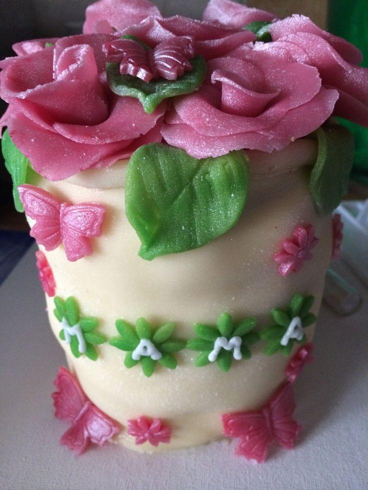 Bloempot taart voor moederdag