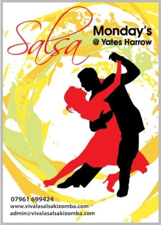 Salsa Dance Classes every Monday @ Yates's Harrow for all levels to learn or improve.