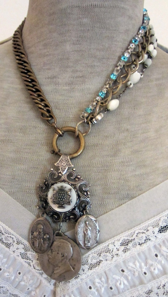 french collection  vintage assemblage necklace by TheFrenchCircus,