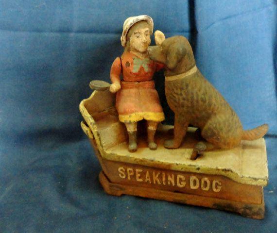 SALE ITEM Antique 1897 Speaking Dog Cast Iron by tennesseehills, $175.00