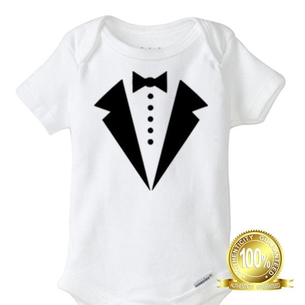 Tuxedo Baby  - Dad Funny Baby Infant Gerber Onesie Milk proper cool gentleman #Gerber