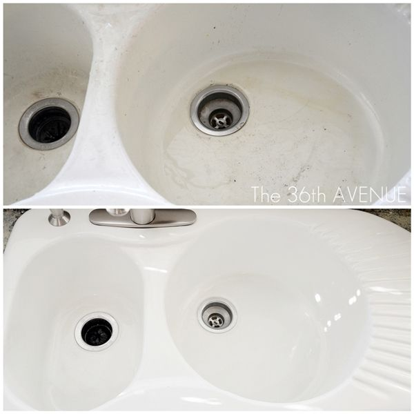 Don't let a stained porcelain sink put a damper on your white kitchen. Check out these tips for scrubbing it clean. #clean_kitchen_sink #white_kitchens