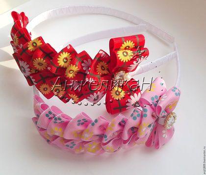 """Купить Ободок """"Очаровательный бантик"""" - разноцветный, ободок для волос, ободок с цветами, ободок с бантом"""