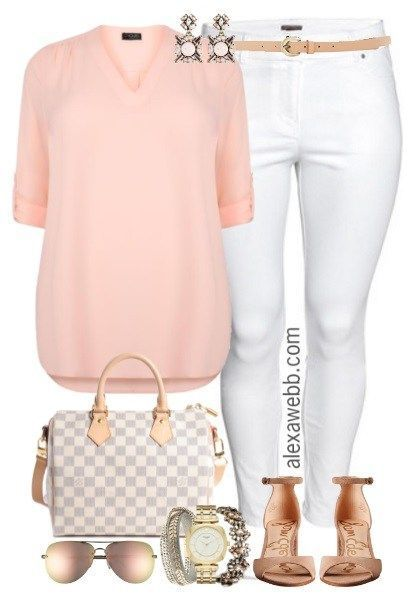 Plus Size Blush Blouse Outfit - Plus Size Spring Outfit - Plus Size Fashion for ... 1