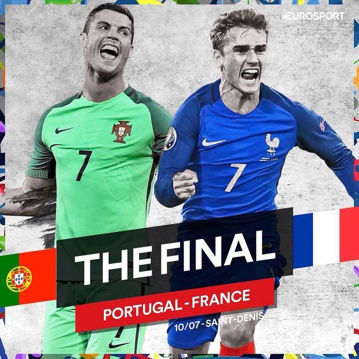 Double tap your side for tonight's @UEFAEuro final! ⚽️ #Eurosport #Football #Soccer #Futbol #Euro #Euros #UEFAEuro #UEFA #France #Portugal #Portuguese #Europe #French #LesBleus #EuropeanChampionship #EuropeanChampionships #Paris #Fans #SaintDenis #Griezmann #Pogba #Giroud #Payet #Ronaldo #CR7 #StadeDeFrance #Final