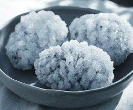 Pine cones encrusted with salt to look like ice