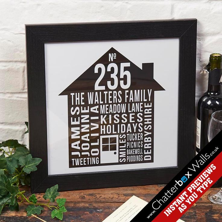 Personalised typographic House print for families