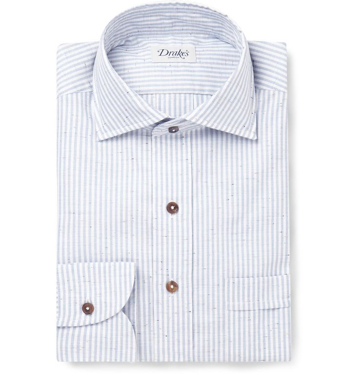 Drake's - Striped Slub Cotton Shirt MR PORTER