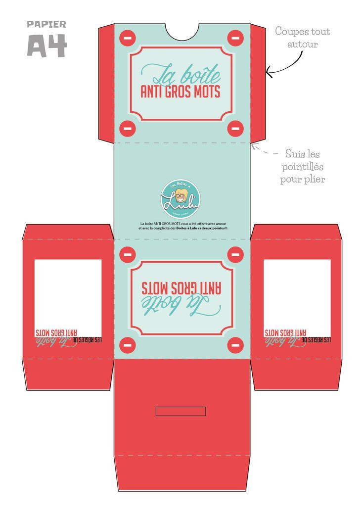 Marre des gros mots ?  #DIY #printable #boiteagrosmots #enfant #educatif #lesboitesalulu