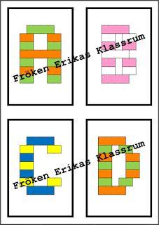 Legoinstruktionskort Klicka på önskad bild (nytt fönster öppnas med nedladdningsbart dokument). Skriv ut korten och deras baksida (dubbe...
