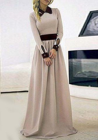 Stylish Flat Collar Long Sleeve Color Block Women's Maxi Dress