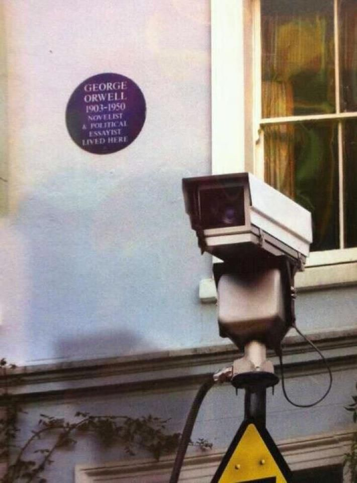 """George Orwell lived here."" Irony? If you can turn in your grave, while pissing yourself laughing ..........."