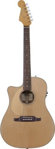 Fender Sonoran SCE Left-Handed Dreadnought Cutaway Acoustic-Electric Guitar, Solid Spruce Top – Natural