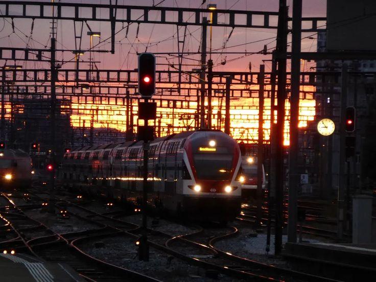 相片:Einfahrt Bahnhof Zürich im Sonnenuntergang