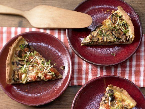 Rezept: Herzhafte Tarte mit Pilzen (276 Kcal)