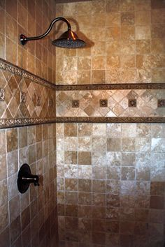 tuscan tile bathroom with frameless shower - Google Search                                                                                                                                                      More