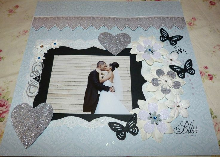 """SCRAPBOOK PAGE HANDMADE12 X 12  """"BLISS"""".....Wedding page""""....reduced to $9.99"""