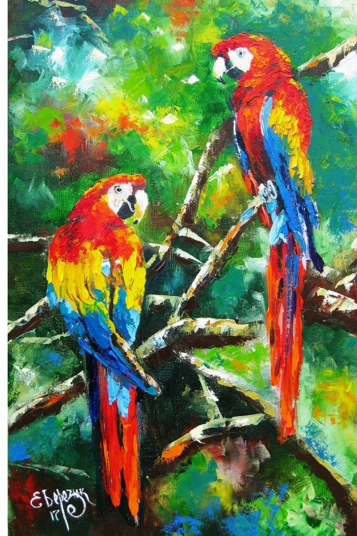 Tropical Birds Oil Palette Knife Painting On Canvas
