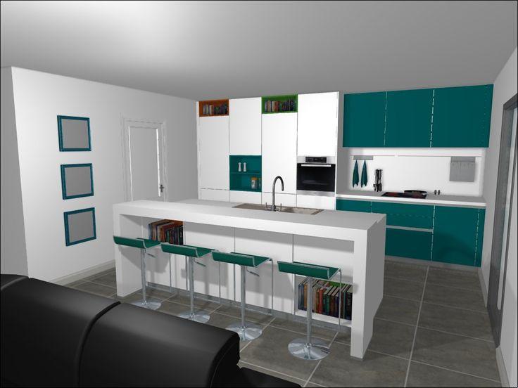 #Schuller Kitchen In Matt White And Matt Lacquer Petrol In Colour :)