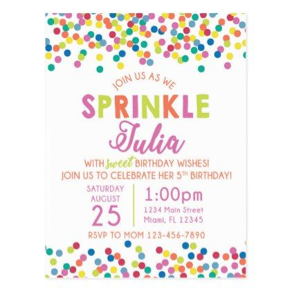 Sprinkles Birthday Invitation Postcard