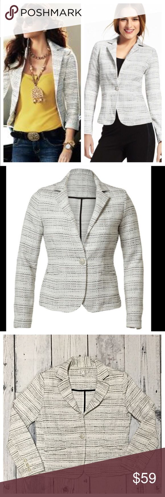 CAbi Static Blazer Black/White CAbi Static Blazer Black/White. Previously loved. Long Sleeves. Small build in shoulder pads to hold form. CAbi Jackets & Coats Blazers
