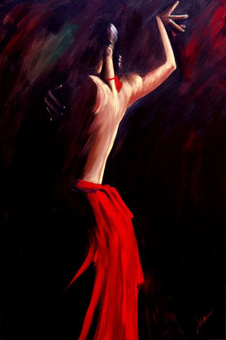 Flamenco dancer in red dress, back of the flamenco dancer with black background, contemporary art 24x36 on canvas #bestofEtsy #Danceart