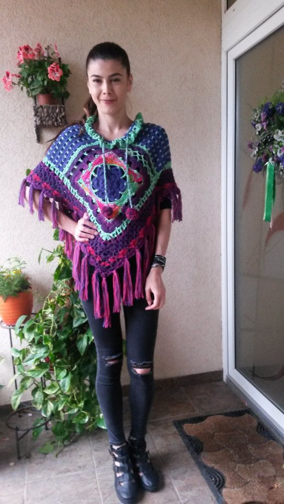 Poncho/Blouse/Tunic/Sweater with 3/4 by AnnesMagicCrochet on Etsy