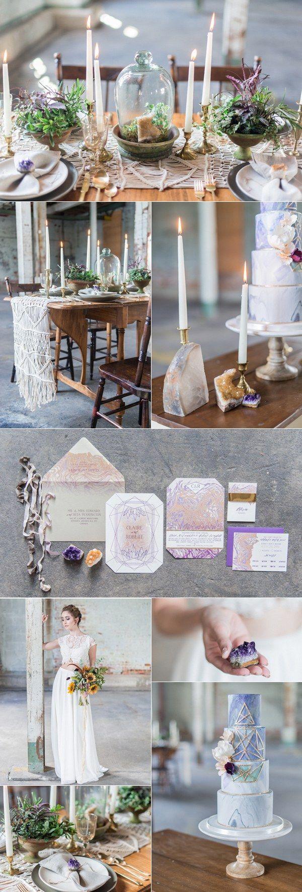 industrial bohemian geode wedding ideas / http://www.deerpearlflowers.com/industrial-wedding-theme-ideas/2/